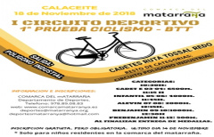 I Prueba de ciclismo BTT del I Circuito Deportivo 'Comarca del Matarraña', el próximo 18 de noviembre en Calaceite