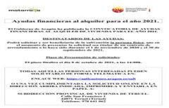Hasta el 8 de octubre, se puede presentar solicitud de ayudas financieras al alquiler, convocadas por el Gobierno de Aragón