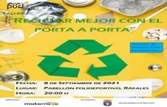 Cambio de fecha para los talleres de reciclaje en Ráfales: 8 de septiembre