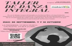 Taller de danza integral, los días 30 de septiembre y 7 y 14 de octubre